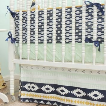 Aztec Themed Baby Bedding | Aqua, Coral Crib Bedding