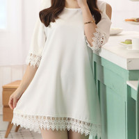 Off Shoulder Chiffon Dress with Lace