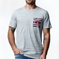 On The Byas Spirit Ethnic Pocket Longline Crew T-Shirt - Mens Tee - Gray