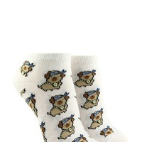 Pugging Graphic Ankle Socks