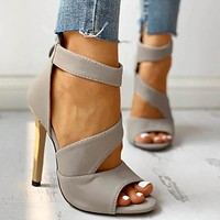 Thin Heels Women Thin High Heels Zipper Peep Toe Sandals Office Hollow Out Sandals Shoes Woman High Heels