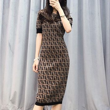 FENDI Summer new style double F letter thin section knitted pullover bag hip thin dress skirt