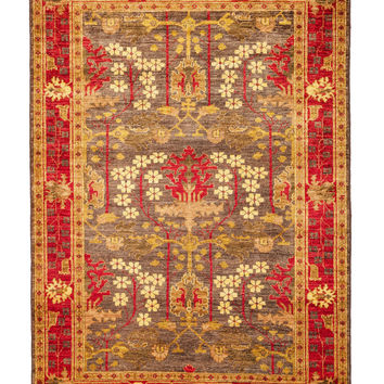 Rugs Arts and Crafts Oriental Handmade Rug - Green