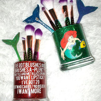 2PC Little Mermaid Collection Makeup Brush Holder Set - YOU CUSTOMIZE!