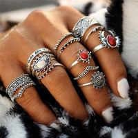 12PCs/Set Vintage Tibet Lucky Red Antique Artificial Stone Moon Knuckle Midi Ring Set for Women Punk Boho Rings Gifts  JM0510