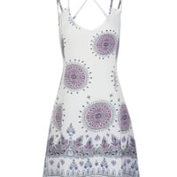 White Ethnic Pattern Backless Double Strap Cami Dress