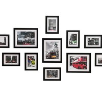 WOOD MEETS COLOR Wall Photo Frames With Real Glass, Including White Picture Mats and Installation Instruction, SET of 11 Collage Frames (Black)