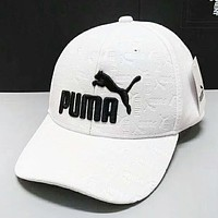 PUMA Fashion New Embroidery Letter Women Men Sunscreen Travel Cap Hat White