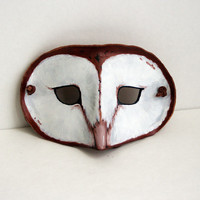 Leather Barn Owl Mask -Costume Play  Halloween Masquerade - Woodlands Brown and White