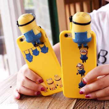 3D Cartoon minions Phone Case For Apple iPhone 6 6s 4.7 6plus 6splus 5.5 cute  i6 back cover pink red