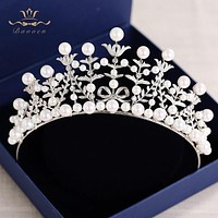 Fresh Water Pearls Wedding Luxury Zircon Crystal Tiara