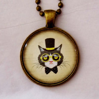 Top Hat Cat Necklace. Cat Necklace, Cat Jewelry. 18 Inch Ball Chain.