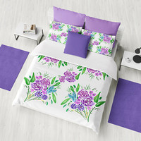 Floral Bouquet Duvet Cover or Comforter,  purple flowers, spring summer bedding