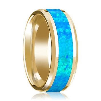 Men's 14k Yellow Gold Polished Wedding Band with Blue Opal Inlay & Beveled Edges - 8MM