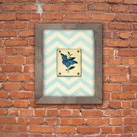 Beautiful butterfly with chevron background and reclaimed wood frame.