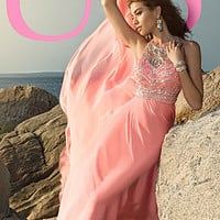 Blush High Neck Long Gown