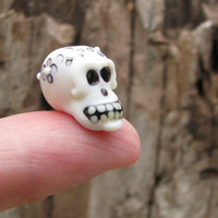 Alas, Poor Yorick... Skull Bead with Ghost Blossom Crown glass handmade lampwork floral