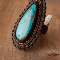 J. Forks Turquoise/Leather Ring