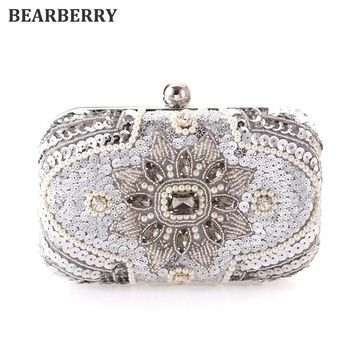 BEARBERRY 2017  handmade pearl clutch purse wedding dinner bags with chain Sequined clutch wallets for ladies shoulder bags