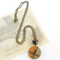 Ceramic Necklace - Tribal Rust Tan Black Lampwork Button Earth Tone Reversible Jewelry with 18 inch Chain