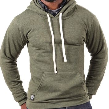 Olive Green Popover Hooded Fleece Sweatshirt - Made in USA Sizes S, XL, XXL Available