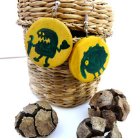 Hand Painted Monster Earrings, Yellow Wood Earrings, Green Monster Jewelry, Halloween Earrings Cute Monsters