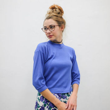 90's solid blue thermal tee, vintage athletic, petite 3/4 sleeve shirt, 1990s ironic vtg tumblr soft grunge vaporwave, urban outfitters