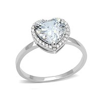 My Love To Keep - Sterling Silver Heart Shaped CZ Ring