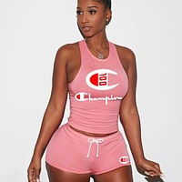 Champion Fashion New Summer Letter Print Vest Sports Leisure Top And Shorts Two Piece Suit Women Pink