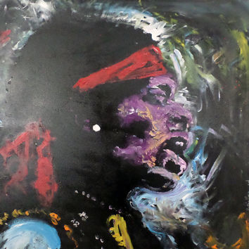 Large Painting - Jimi Hendrix - Expressionist Pop Art - 36x36 - Synesthesia Painting - YouTube Star - Statement Piece - Unique Memorabilia
