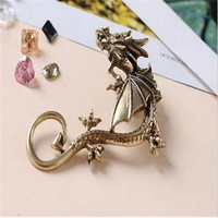 Dragon Earrings Non- Pierced Clip On Earrings Fake Ear Cartilage Cuff Ear Ring (Bronze)