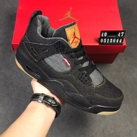 Levi's x Air Jordan 4 Black Denim Sneaker Shoe 36-47.5
