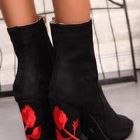 New Women Black Piscine Mouth Chunky Embroidery Casual Ankle Boots