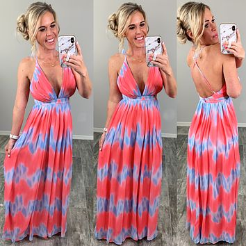 Oceans Of Love Ombre Maxi Dress - Coral