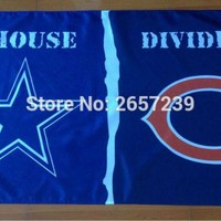 Dallas Cowboys Chicago Bears House Divided Flag 3x5FT NFL banner 150X90CM 100D Polyester brass grommets custom66 Flag