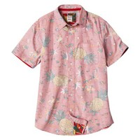 Mossimo Supply Co. Men's Short Sleeve Tropical Button Down - Red Pineapple Print