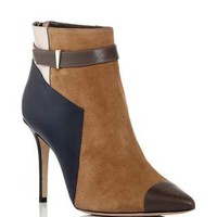 Suede, Calfskin and Snakeskin Leather Belted Ankle Boots