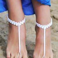 White Crochet T-bar Toe Ring Barefoot Sandals