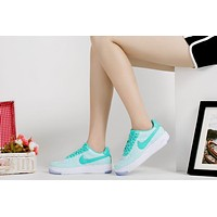 Originals Nike Air Force One 1 Flyknit Low Green / White Women Running Sport Casual Shoes '07 820256-300 Sneakers