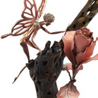 Fairy and Flower Copper and Cholla Cactus Wood Sculpture | lunarskies - Sculpture on ArtFire