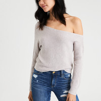 AE Off-The-Shoulder Dolman Sweater, Gray