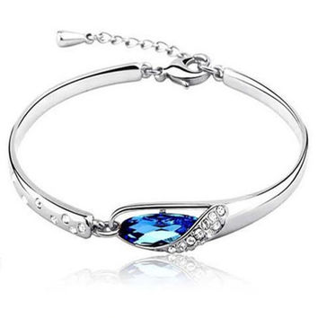 Silver Plated Jewelry Crystal Chain Bracelets