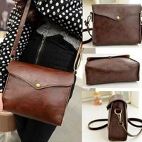 New Womens Leather Shoulder Bag Satchel Clutch Handbag Tote Purse Hobo Messenger (Color: Brown) = 5979098049