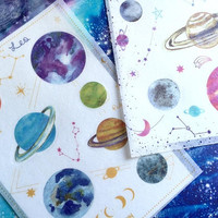 2 solar system planets stickers outer space moon earth jupiter mars saturn uranus venus mercury Galaxy mystery sky nine planet decor sticker