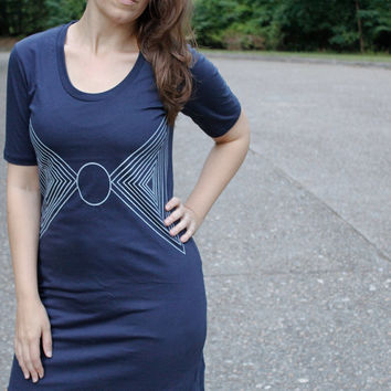 Cotton jersey mini dress for women - triangle print on navy blue - geometric summer dress by Blackbird Tees