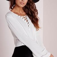 Missguided - Bell Sleeve Tie Up Blouse White