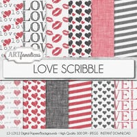 """Love Digital Paper """"LOVE SCRIBBLE"""" hand drawn backgrounds, kisses, red hearts, black hearts, linen texture for photographers,scrapbooking"""