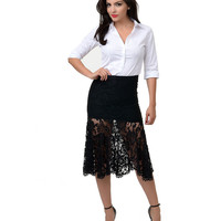 Vintage Style Black Floral Lace High Waist Fitted Mermaid Skirt