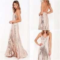 Sequins Spaghetti Straps V-neck Backless Long Party Dress
