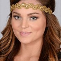 Pink Pewter Darlene Stretch Headband in Gold
